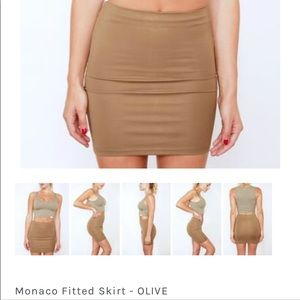 Olive fitted mini skirt